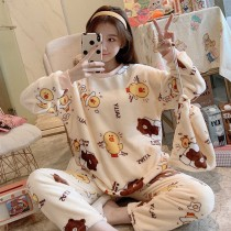 熊大法蘭絨保暖睡衣套裝