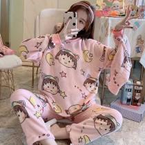 小丸子法蘭絨保暖睡衣套裝(粉色)