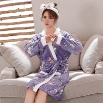 紫獨角獸法蘭絨睡袍浴衣