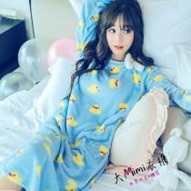 黃色小鴨蝴蝶結法蘭絨睡裙