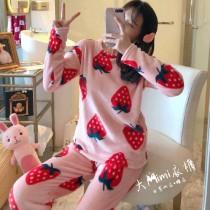 大草莓法蘭絨保暖褲裝睡衣