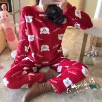 紅豬法蘭絨保暖褲裝睡衣
