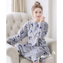 小丸子法蘭絨裙裝睡衣(灰色)