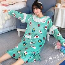 水果法蘭絨裙裝睡衣