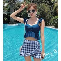 女學生兩件式荷葉邊泳衣(4色)