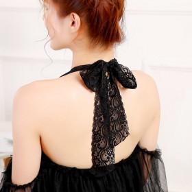 蕾絲綁帶繞頸肩帶
