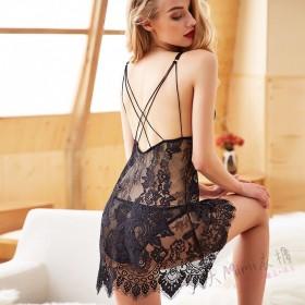 歐美花朵蕾絲性感睡衣