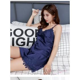 蕾絲邊仿真絲罩杯居家服睡衣(6色)洋裝