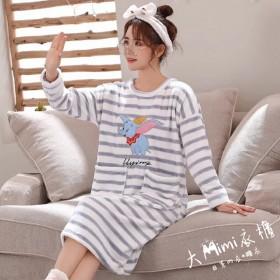 條紋小飛象法蘭絨裙裝睡衣